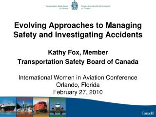 Advancing Approaches to Managing Safety and Investigating Accidents