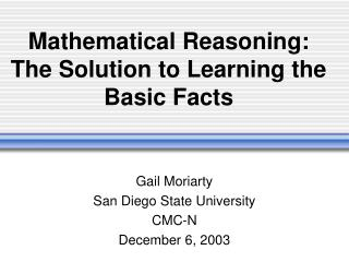 Scientific Reasoning: The Solution to Learning the Basic Facts