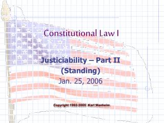 Justiciability Part II Standing Jan. 25, 2006