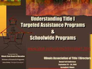 Comprehension Title I Targeted Assistance Programs Schoolwide Programs