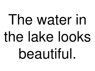 The water in the lake looks excellent.