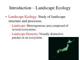Presentation Landscape Ecology