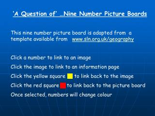 A Question of Nine Number Picture Boards