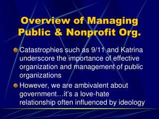 Diagram of Managing Public Nonprofit Org.