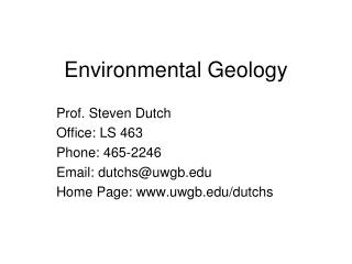 Ecological Geology