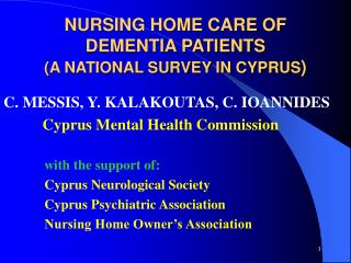 NURSING HOME CARE OF DEMENTIA PATIENTS A NATIONAL SURVEY IN ...