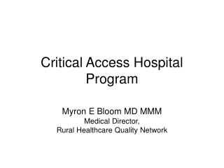 Basic Access Hospital Program