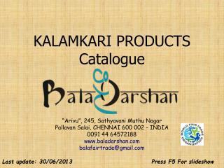 KALAMKARI PRODUCTS Catalog