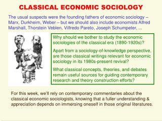 Traditional ECONOMIC SOCIOLOGY