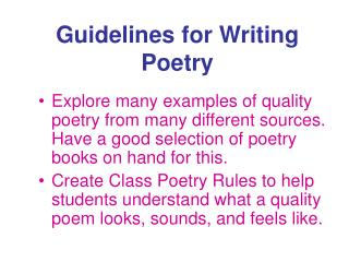 Rules for Writing Poetry