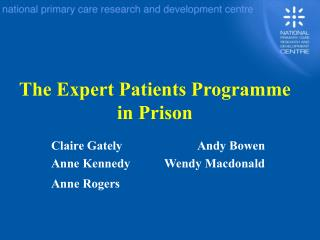 The Expert Patients Program in Prison