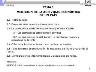 TEMA 1 MEDICION DE LA ACTIVIDAD ECON MICA DE UN PA S