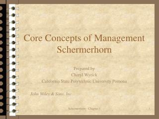 Center Concepts of Management Schermerhorn