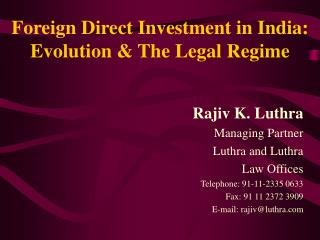 Remote Direct Investment in India