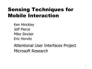Detecting Techniques for Mobile Interaction