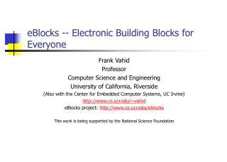 EBlocks - Electronic Building Blocks for Everyone