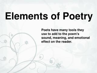 Components of Poetry