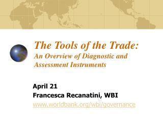 The Trade's Tools: An Overview of Diagnostic and Assessment Instruments