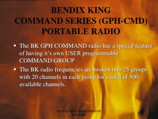BENDIX KING COMMAND SERIES GPH-CMD PORTABLE RADIO