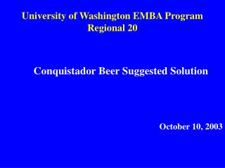 College of Washington EMBA Program Regional 20