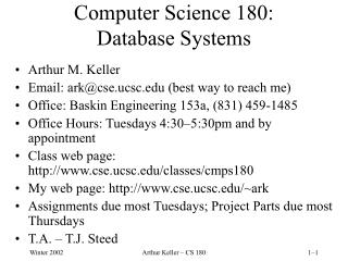 Software engineering 180: Database Systems