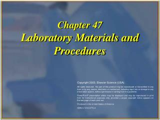 Section 47 Laboratory Materials and Procedures