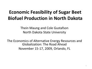 Financial Feasibility of Sugar Beet Biofuel Production in North Dakota