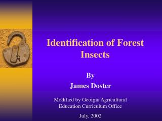 Distinguishing proof of Forest Insects