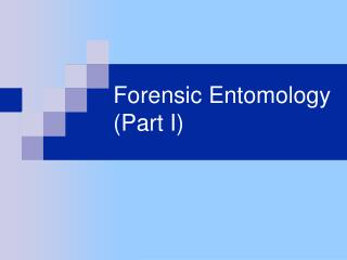 Criminological Entomology Part I