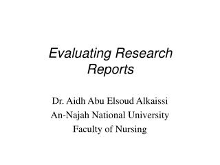Assessing Research Reports