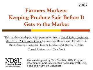 Agriculturists Markets: Keeping Produce Safe Before It Gets to the Market
