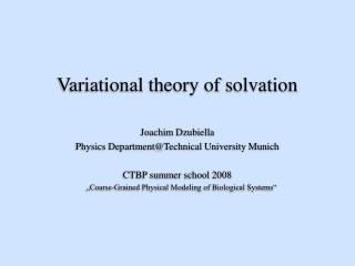 Variational hypothesis of solvation