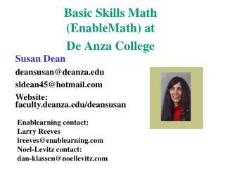 Fundamental Skills Math EnableMath at De Anza College