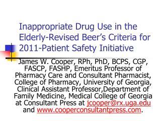Improper Drug Use in the Elderly-Revised Beer