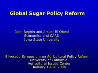 Worldwide Sugar Policy Reform