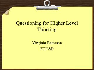 Addressing for Higher Level Thinking