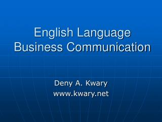 English Language Business Communication