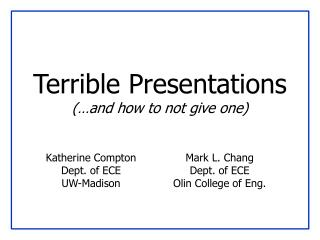 Loathsome Presentations and how to not give one