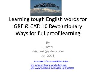 Learning intense English words for GRE CAT