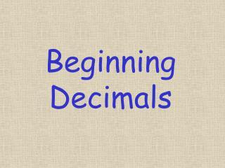 Starting Decimals