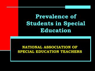 Pervasiveness of Students in Special Education