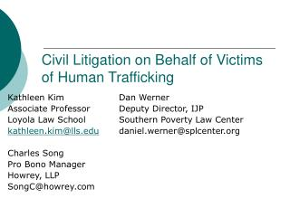 Common Litigation on Behalf of Victims of Human Trafficking