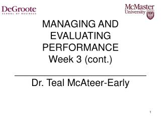 Overseeing AND EVALUATING PERFORMANCE Week 3 cont. ________________________ Dr. Greenish blue McAteer-Early