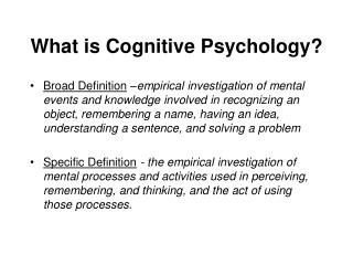What is Cognitive Psychology