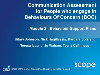 Correspondence Assessment for People who take part in Behaviors Of Concern BOC Module 3 : Behavior Support Plans
