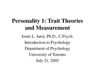 Identity 1: Trait Theories and Measurement