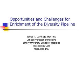 Opportunities and Challenges for Enrichment of the Diversity Pipeline