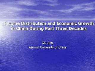 Salary Distribution and Economic Growth in China During Past Three Decades