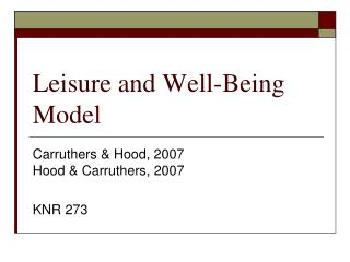Recreation and Well-Being Model