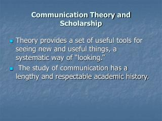 Correspondence Theory and Scholarship